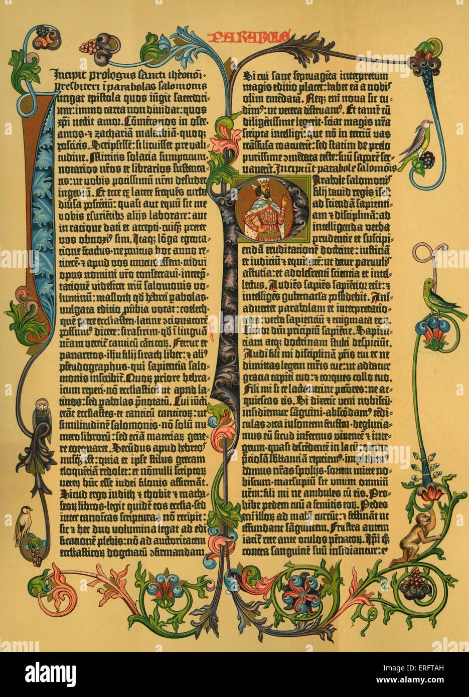 """Commentaire de Solomon's """"paraboles"""" de Gutenberg bible latine, ch. 1453 -1456. Photo Stock"""