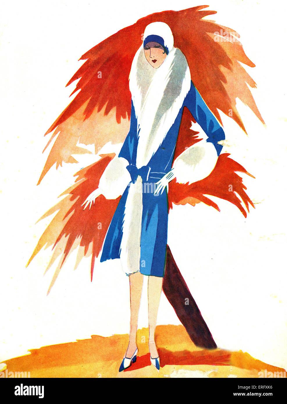 Le Miroir des modes Septembre 1927 Couverture du magazine de mode. Femme en manteau de fourrure garni, glvoes et Photo Stock
