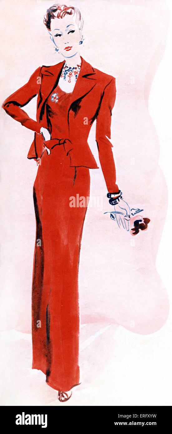 La mode française, robe de soirée de Coco Chanel collection automne 1938       899163be0d8