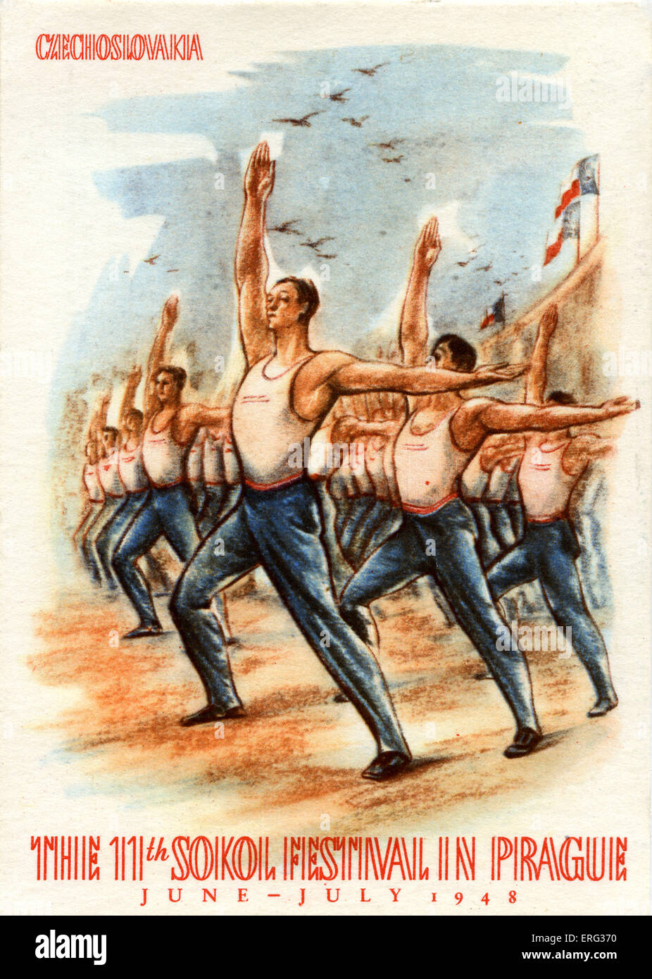 Le 11e Festival Sokol, un youth sport et gymnastique festival, tenue à Prague, juin - juillet 1948. Sokol  Photo Stock