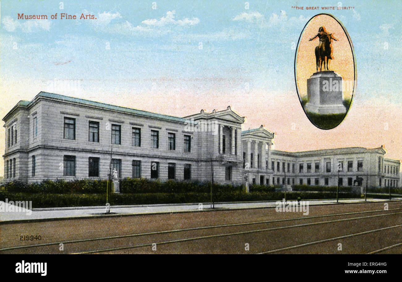 Boston: Musée des beaux-arts, avec statue 'The Great White Spirit'. C.1900s Photo Stock