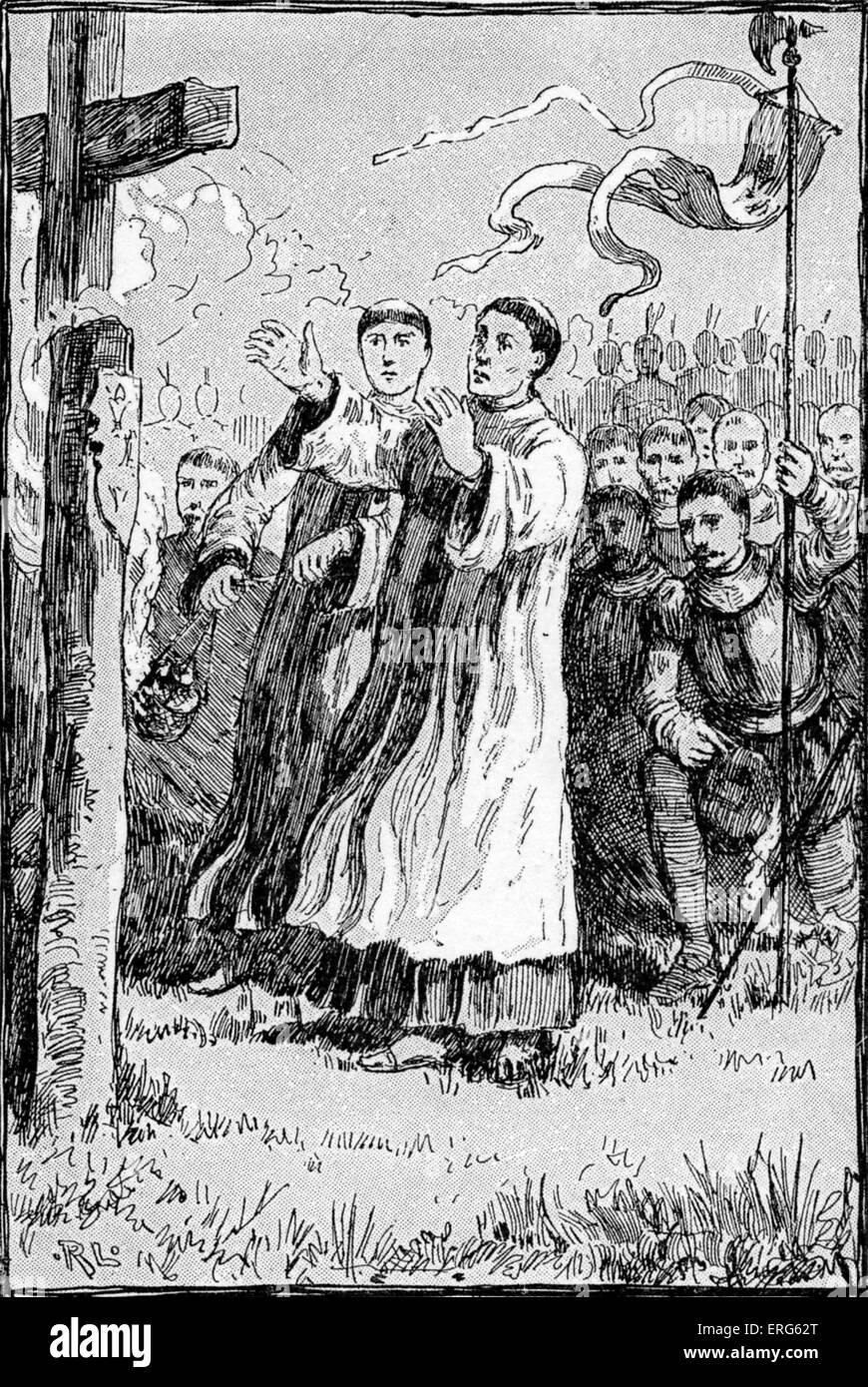 Les conquistadores espagnols en Amérique à un service dirigé par des moines, publié en 1887. Photo Stock