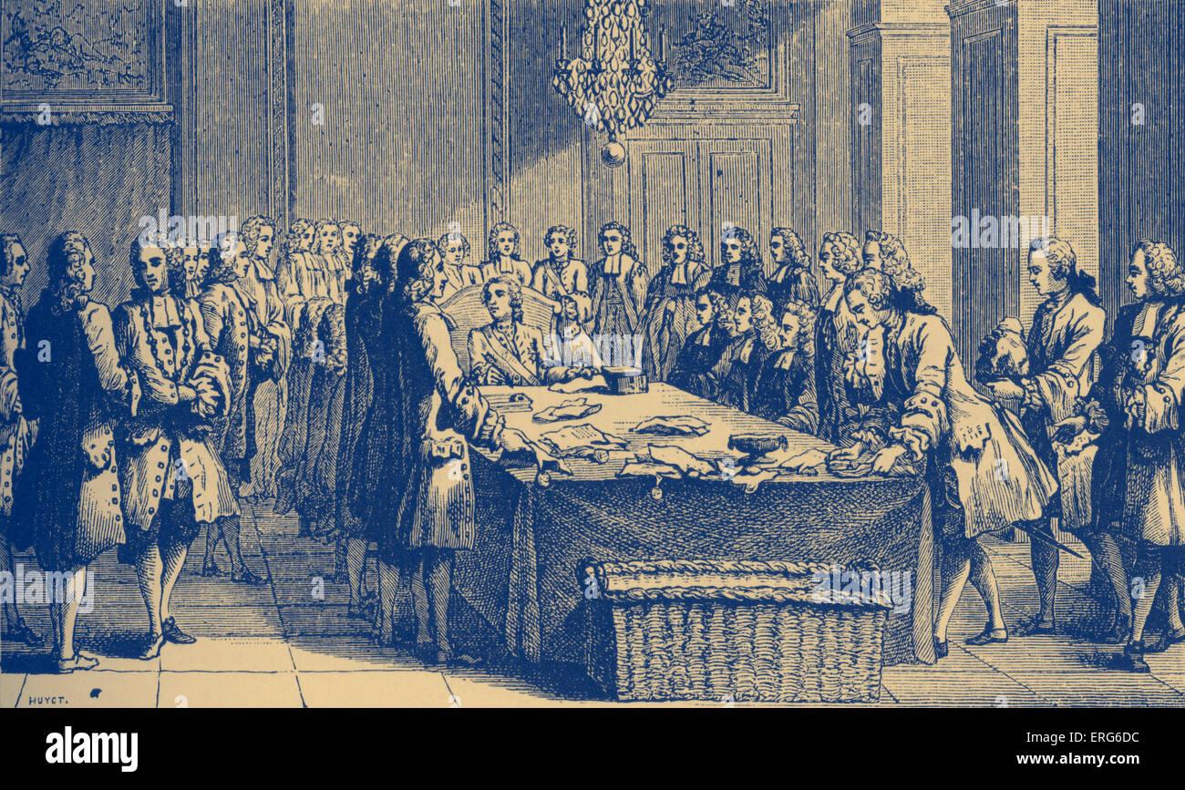 Louis XV, roi de France, tenant le Sceau en personne, pour la première fois, mars 1757. Symbole de pouvoir politique sur la Banque D'Images