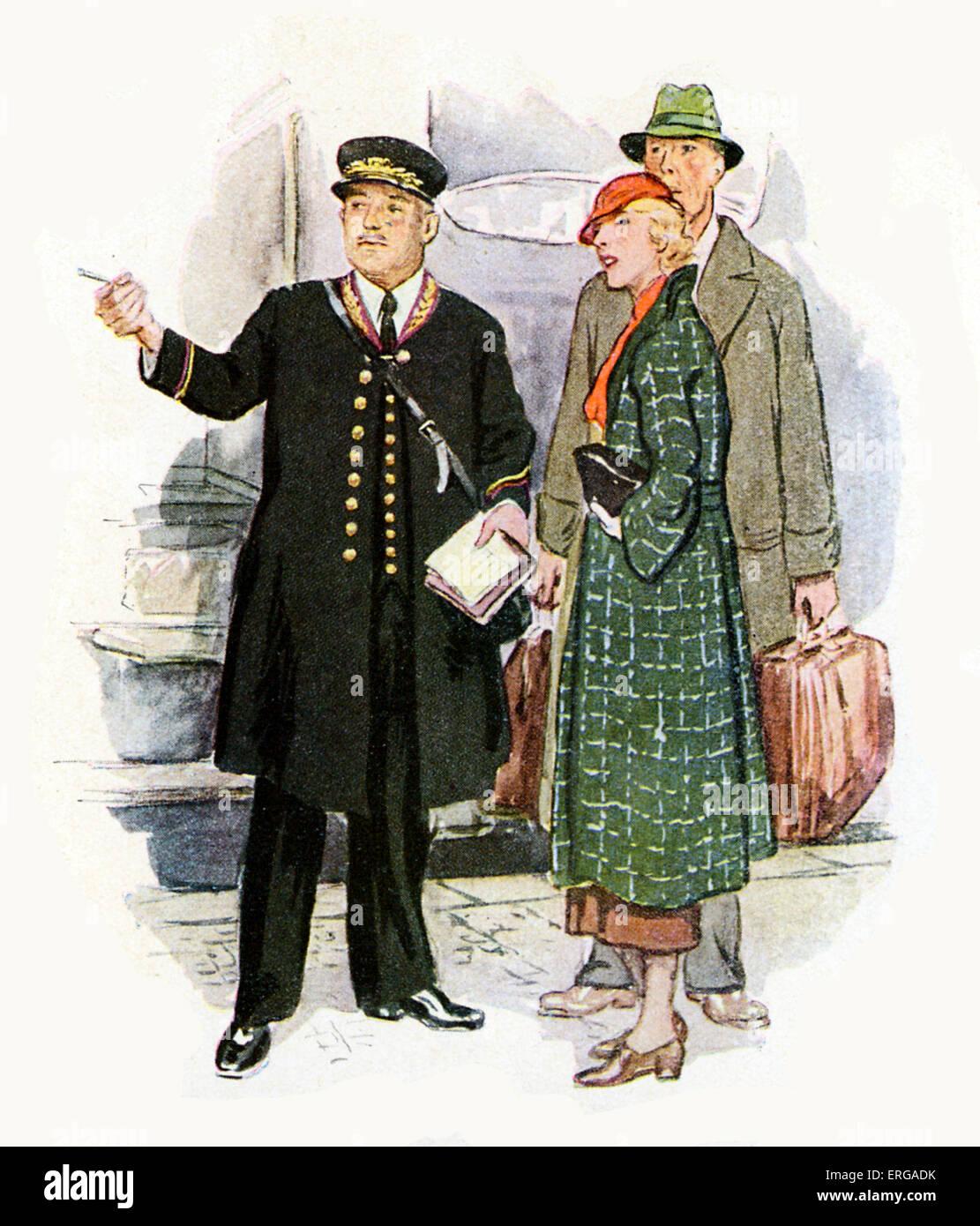 Les uniformes du personnel des chemins de fer français, 1920-30s: contrôleur de train avec passagers. Photo Stock