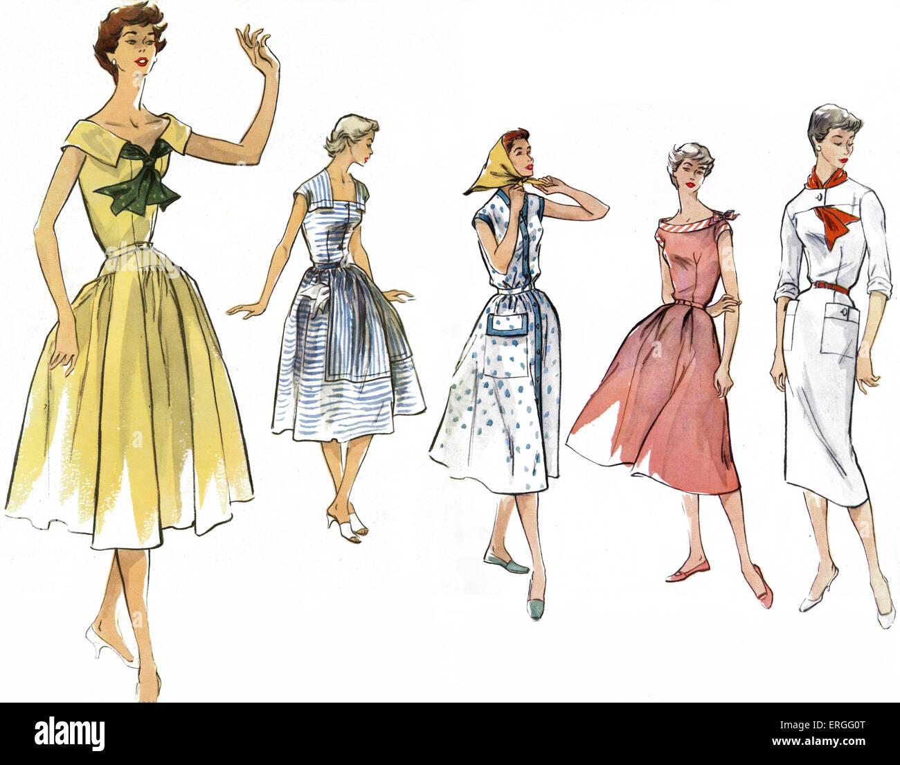 Mode été française, 1950. Publié dans 'Modes et Travaux' - le magazine de mode français, Photo Stock