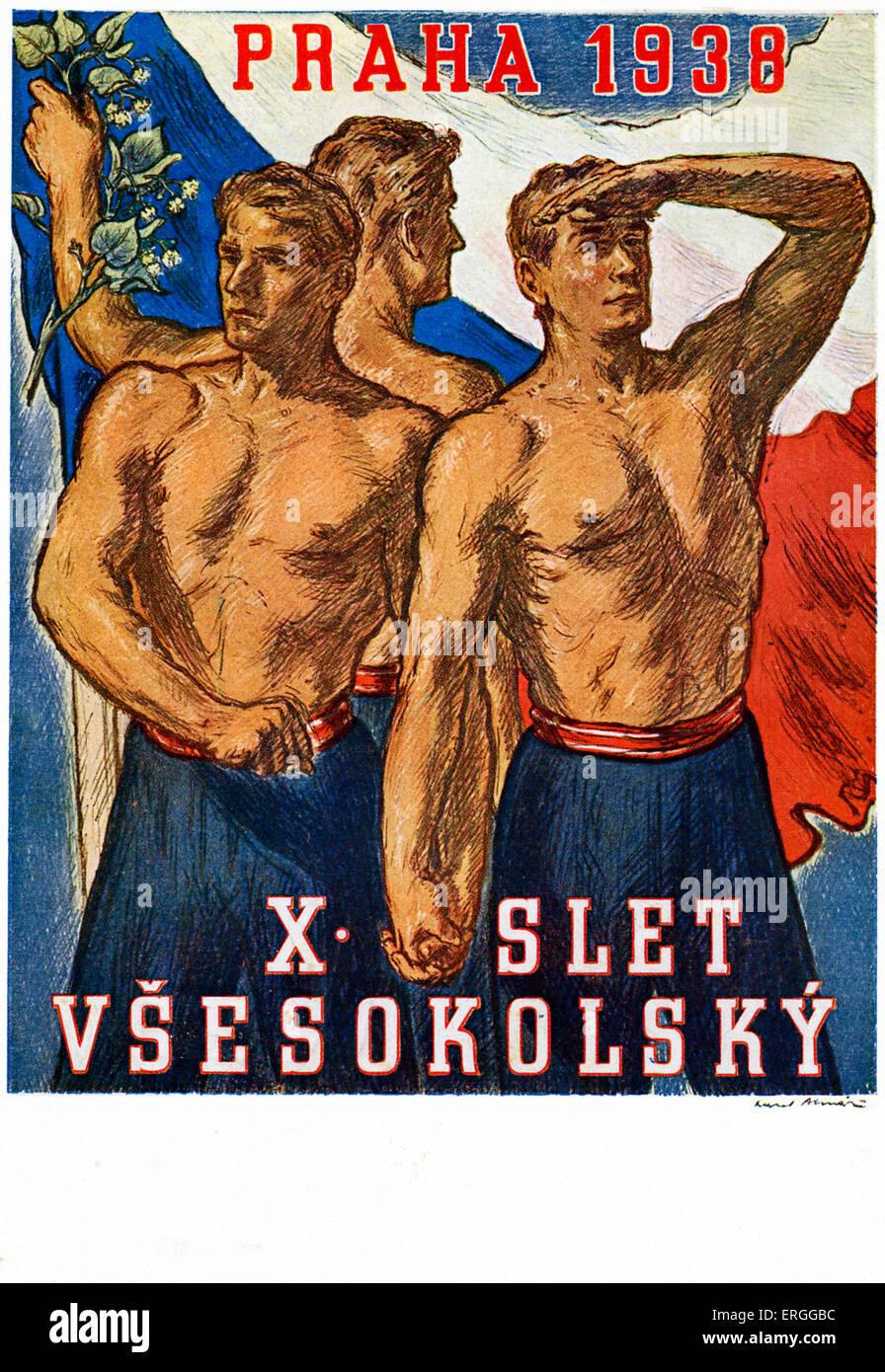 Publicité tchèque Sokol Slet pour 1938. Tenue à Prague. Sokol est un  mouvement de la jeunesse des sports et de la gymnastique. 71b63536560