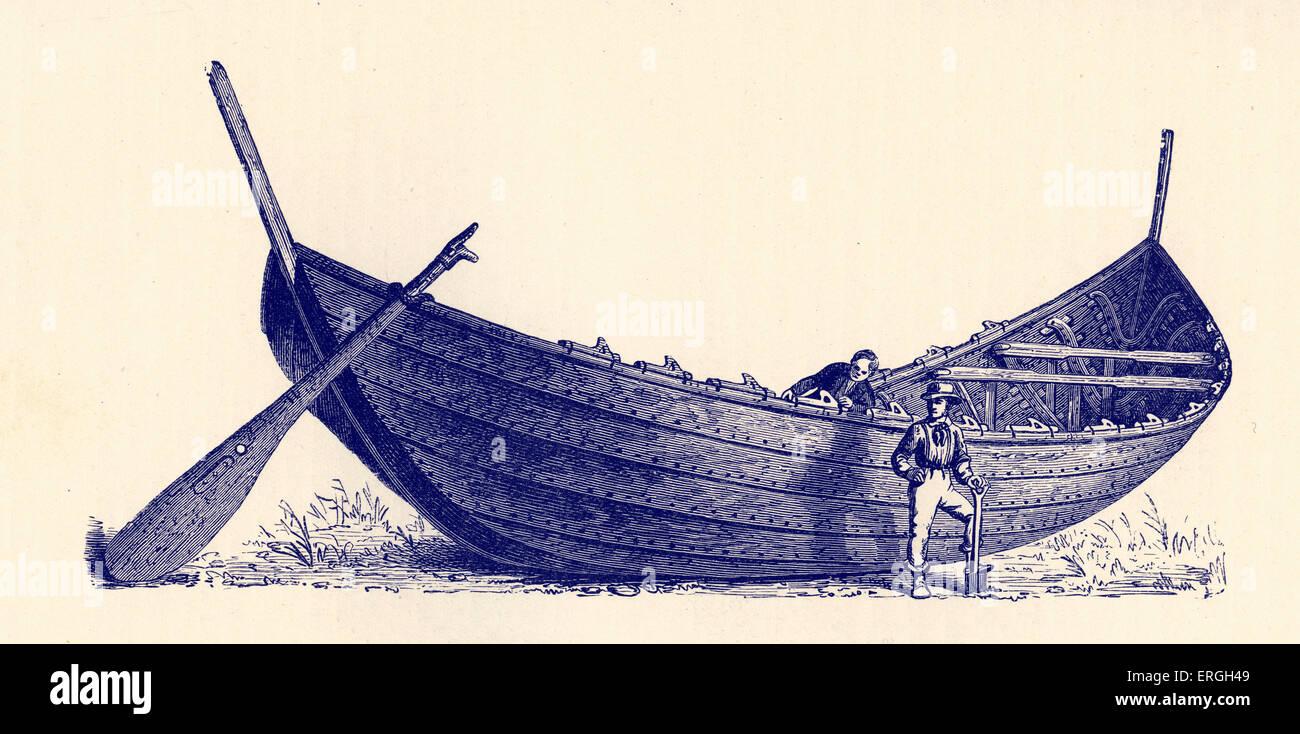 Bateau pour quatorze paires d'avirons, trouvés dans le Jutland. Publié dans Illustration Montelius Photo Stock