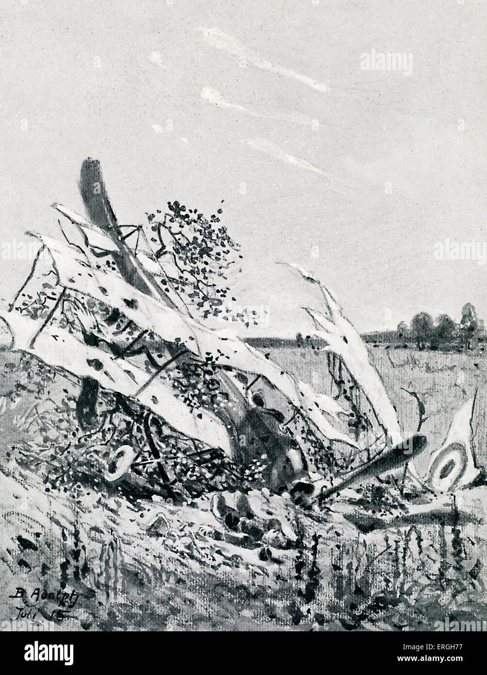 La Seconde Guerre mondiale 1: tourné vers le bas - avion britannique. Après avoir tracé par Berthold Adolph publié le 4 novembre 1915. Banque D'Images