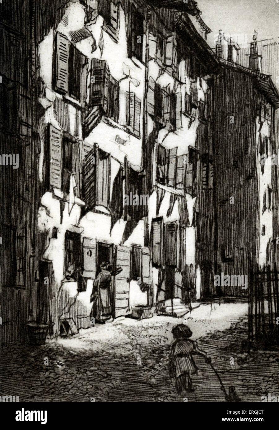 Vieux quartier de Genève. Impression monochrome de l'illustration par Verdier (dates inconnues). Photo Stock