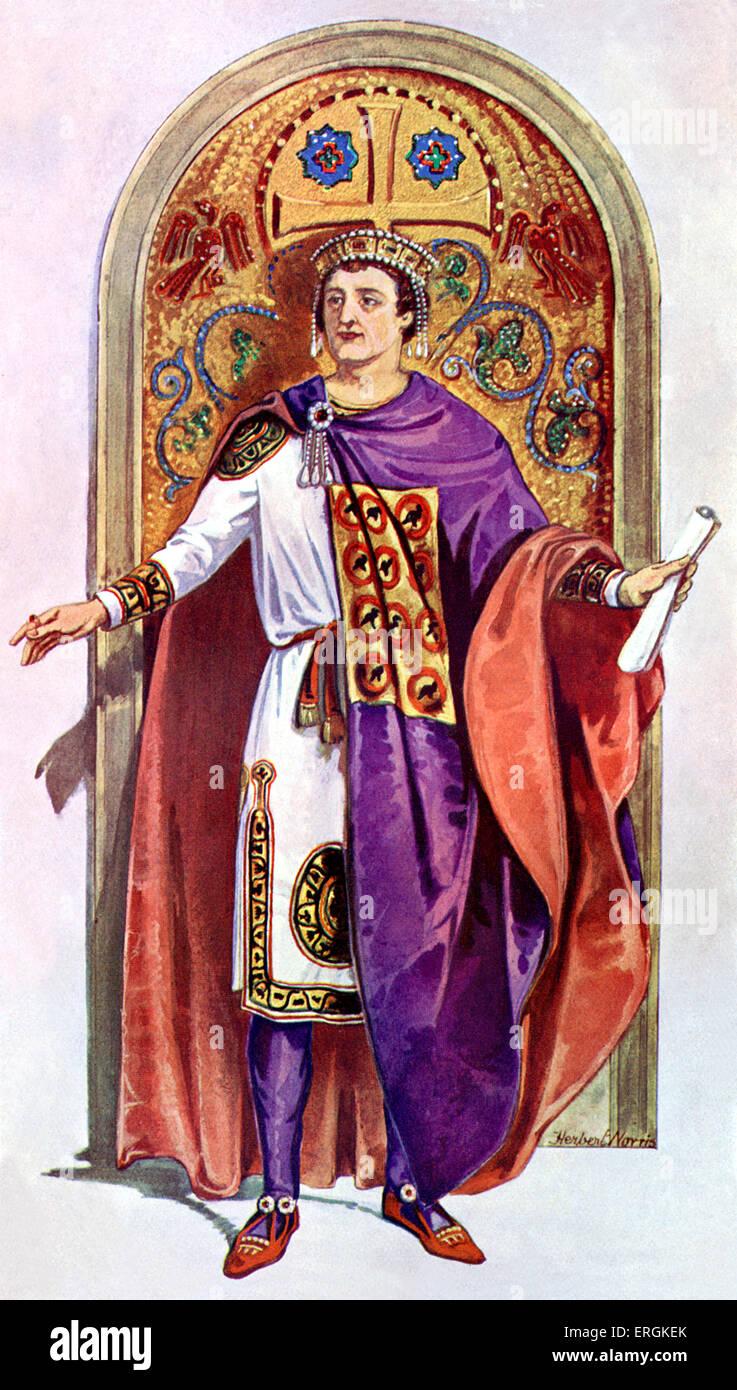 L'empereur byzantin Justinien, ch. 482 - 565. Chef de l'Empire romain 527-565. Herbert Norris artiste est Photo Stock
