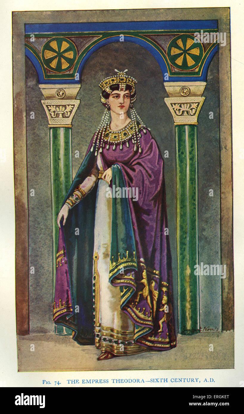 L'impératrice Théodora c. 500 - 548, épouse de l'empereur byzantin Justinien I c. 482 - 565. Photo Stock