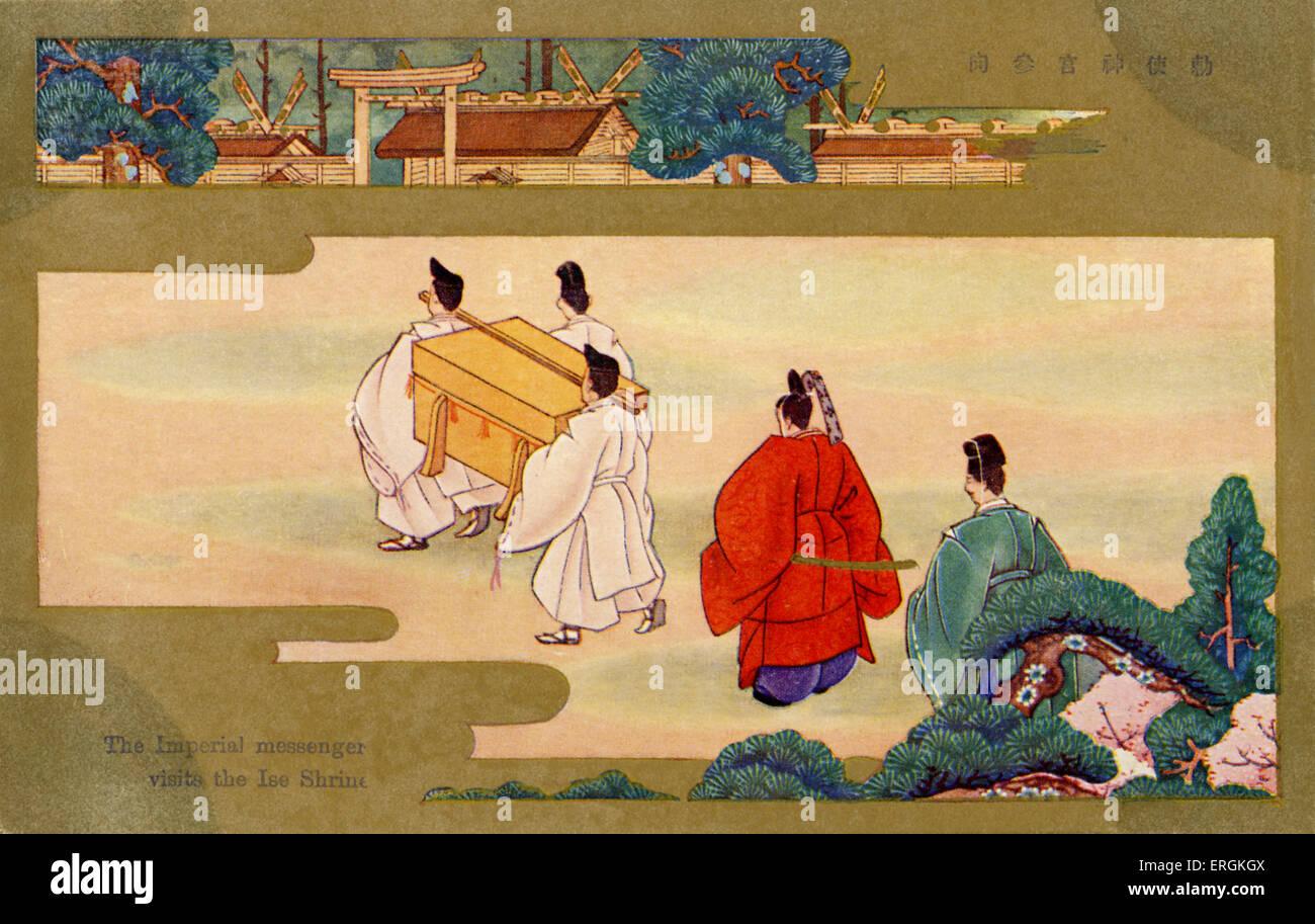 L'Imperial messenger visite le sanctuaire d'Ise, le Japon. Le sanctuaire d'Ise, dans la préfecture Photo Stock