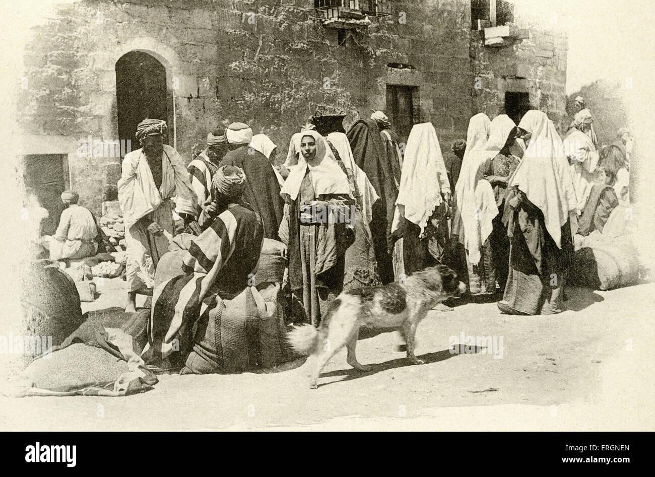 Bethléem - rencontre de femmes effectuant des achats, Palestine 1894. Photo Stock