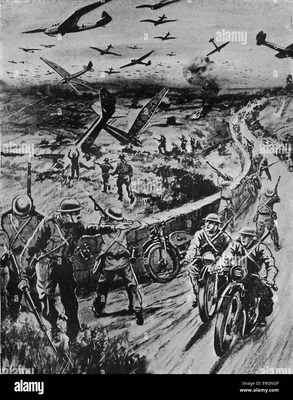WW2 - Home Guard. Vue d'artiste de la façon dont les gardes à domicile serait de faire face à une invasion d'avions Banque D'Images