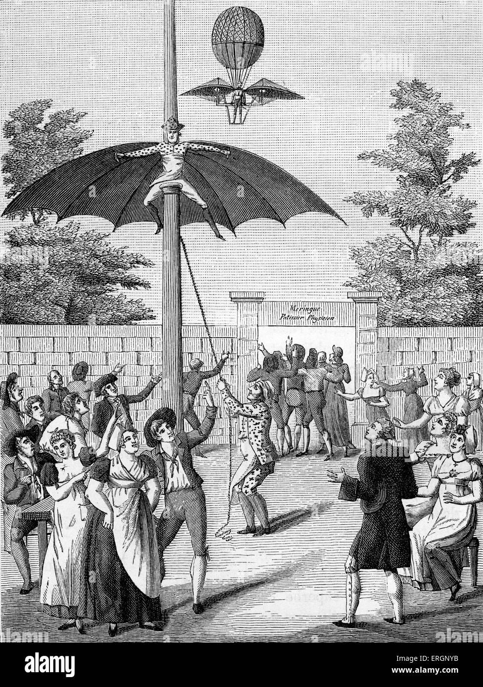 Vol , l'homme à l'animation du parc Jardin d'Idalie, Calais, France. 19e siècle . Photo Stock