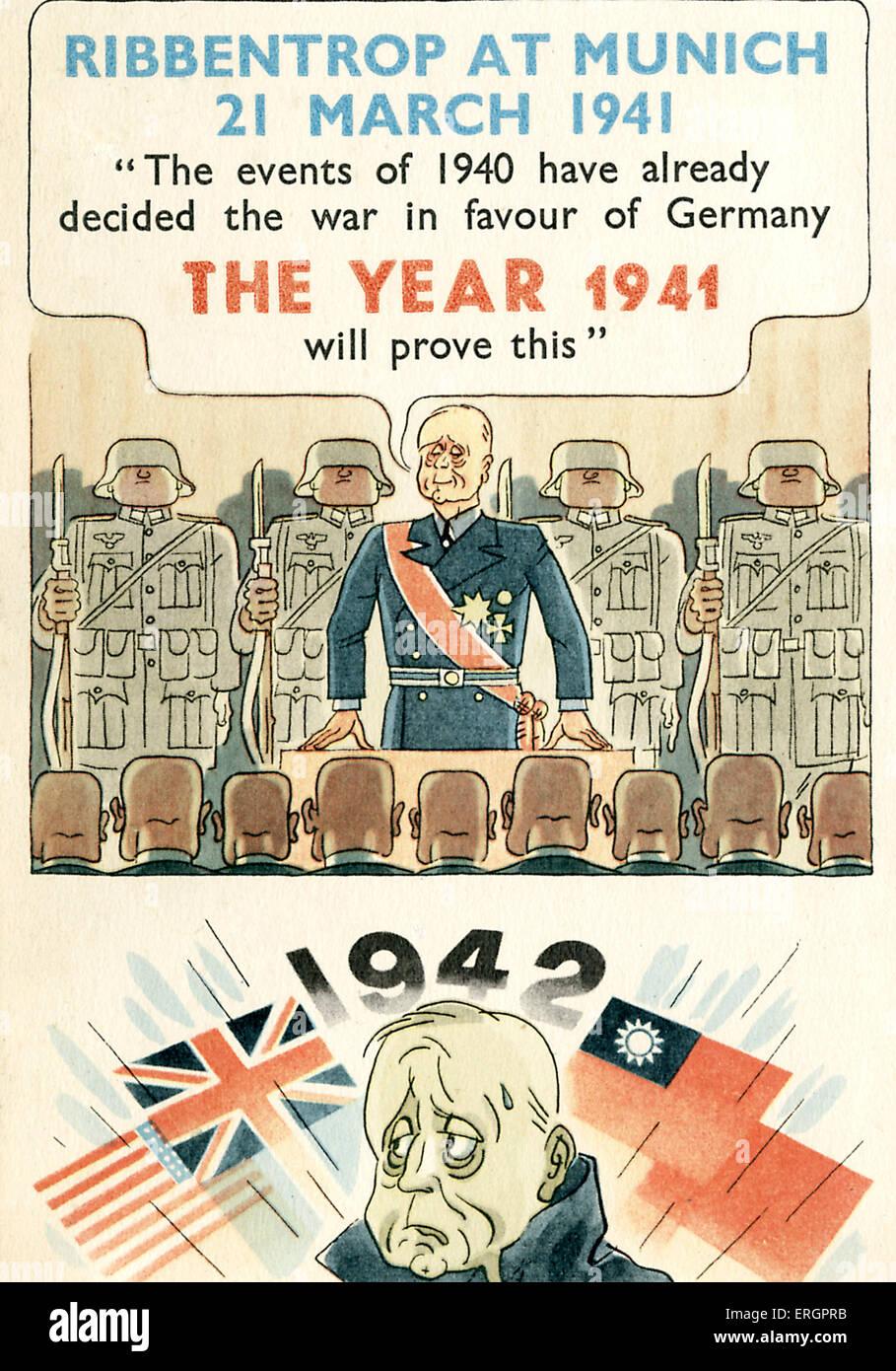 Joachim von Ribbentrop, la caricature. Un fier Ribbentrop est montré parlant à Munich en 1941: 'Les Photo Stock
