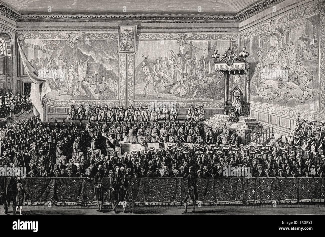 Louis XV, roi de France: le lit de justice tenu à Versailles, en 1776. Symbole du pouvoir politique sur le système judiciaire. Banque D'Images