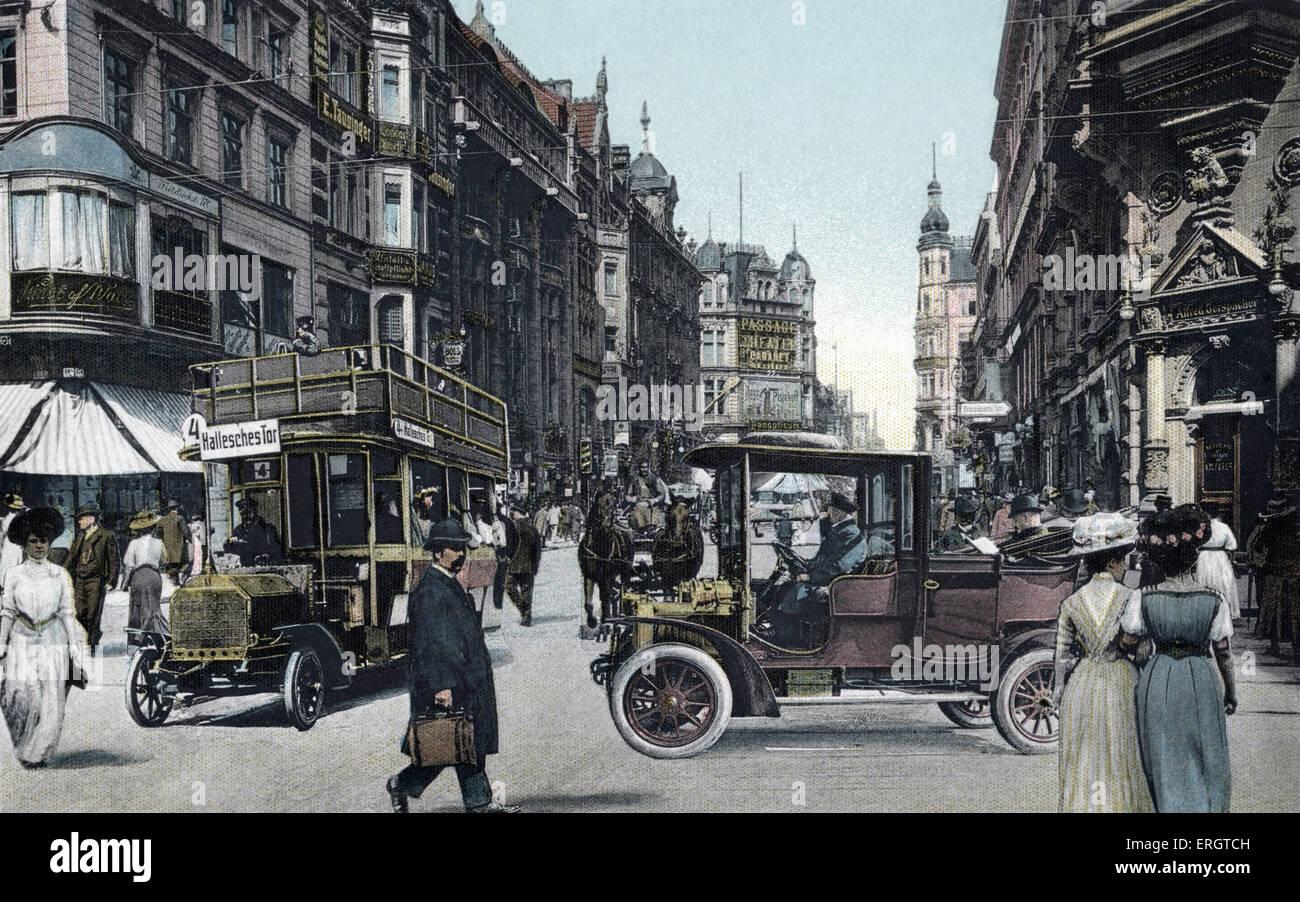 Berlin au tournant du 20e siècle. Friedrichstrasse. Les tramways et les calèches. Scène de rue. Intitulé Photo Stock