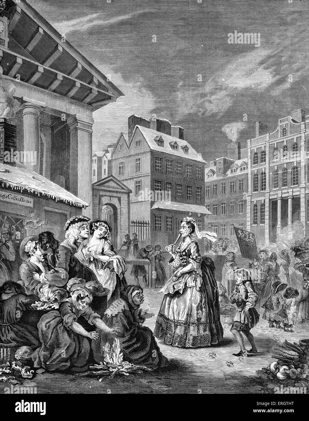 Matin - rues de Londres - gravure par William Hogarth, peintre français et artiste 10 novembre 1697 -Le 26 octobre, Banque D'Images