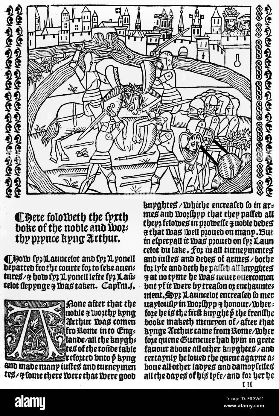 """""""Le morte d'Arthur' ('la mort d'Arthur""""). Une compilation de Français et Anglais Photo Stock"""