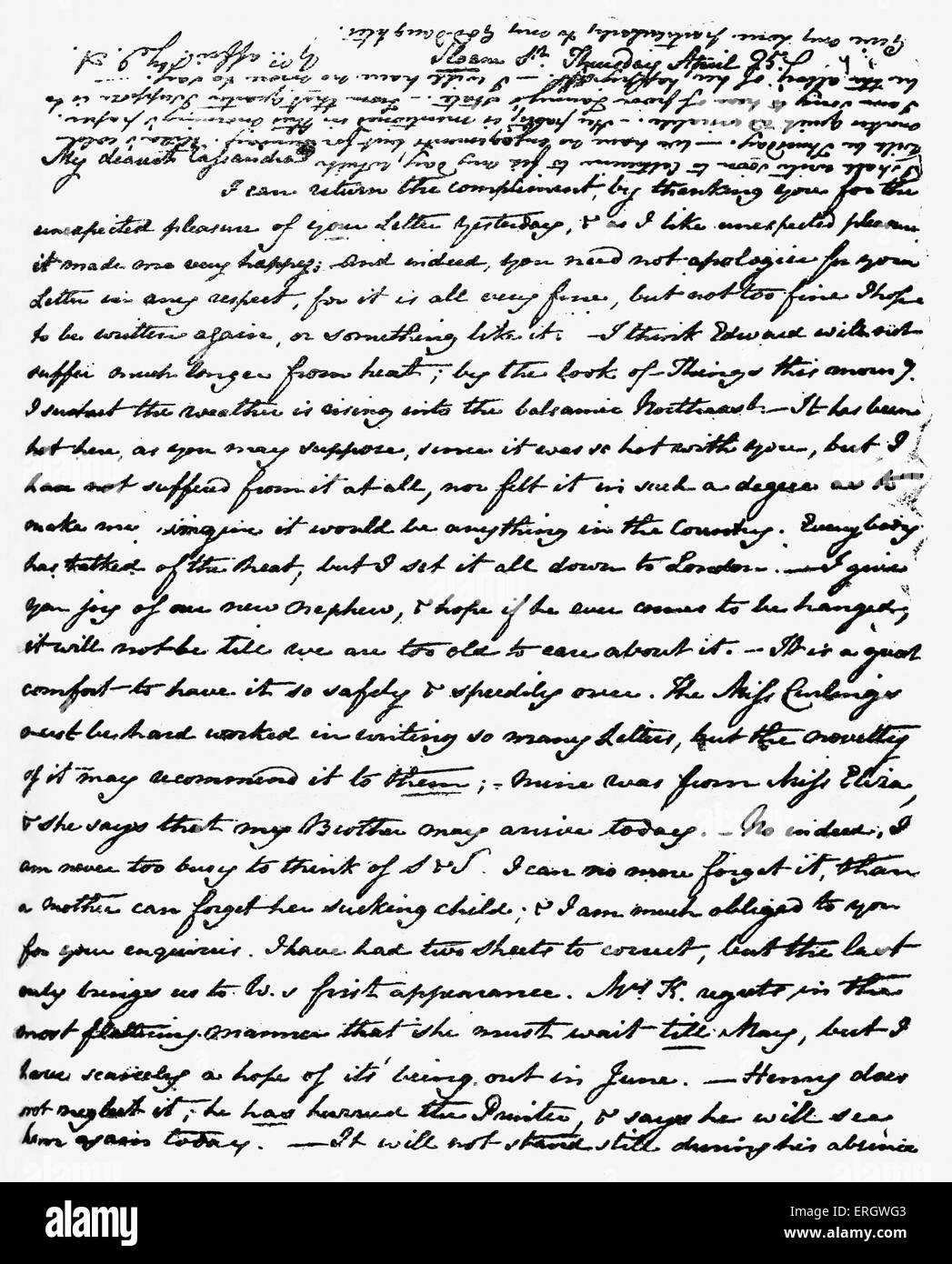 Lettre De Jane Austen à Cassandra Austen Sa Soeur