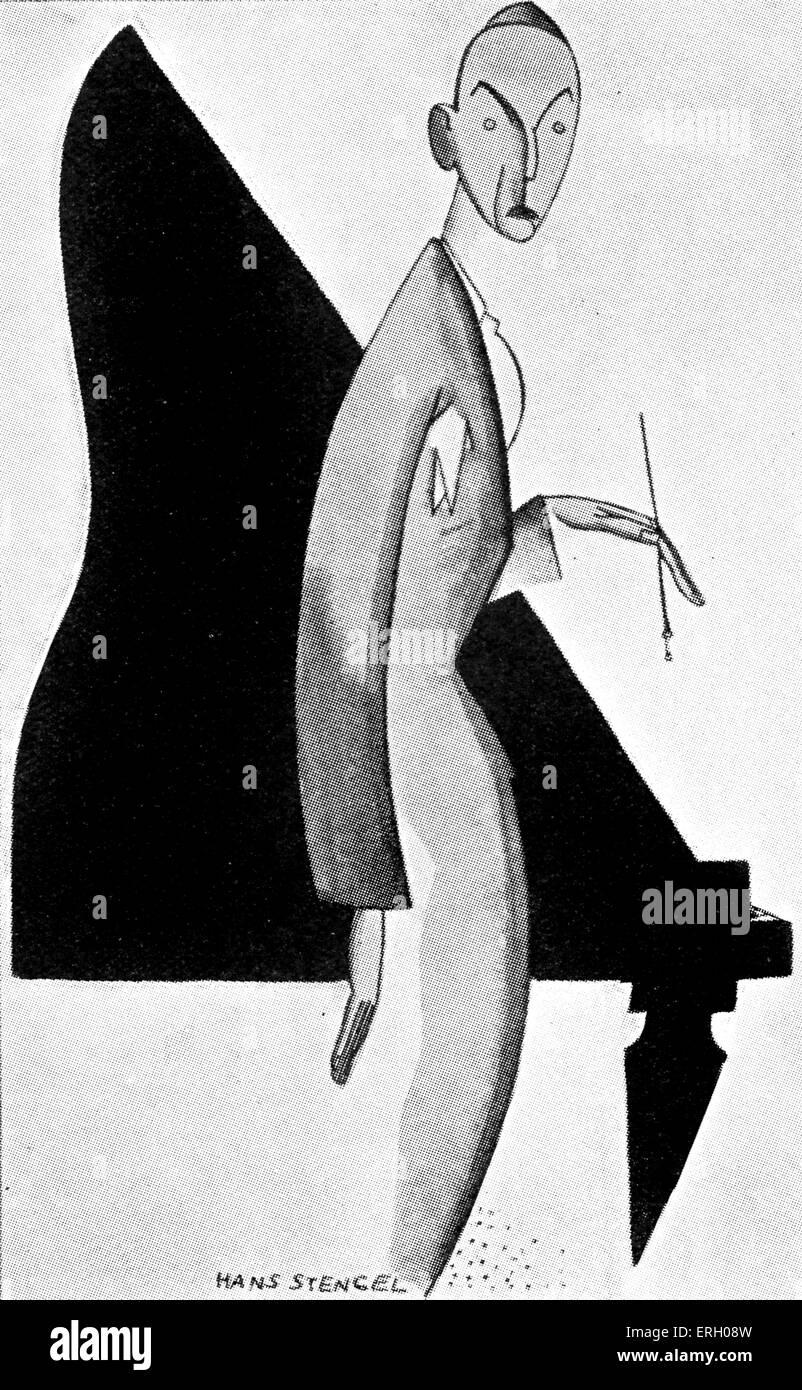 """Noel Coward caricature par Hans Stengel. Capion indique 'philosophe de nous les modernes."""" Le caricaturiste Photo Stock"""