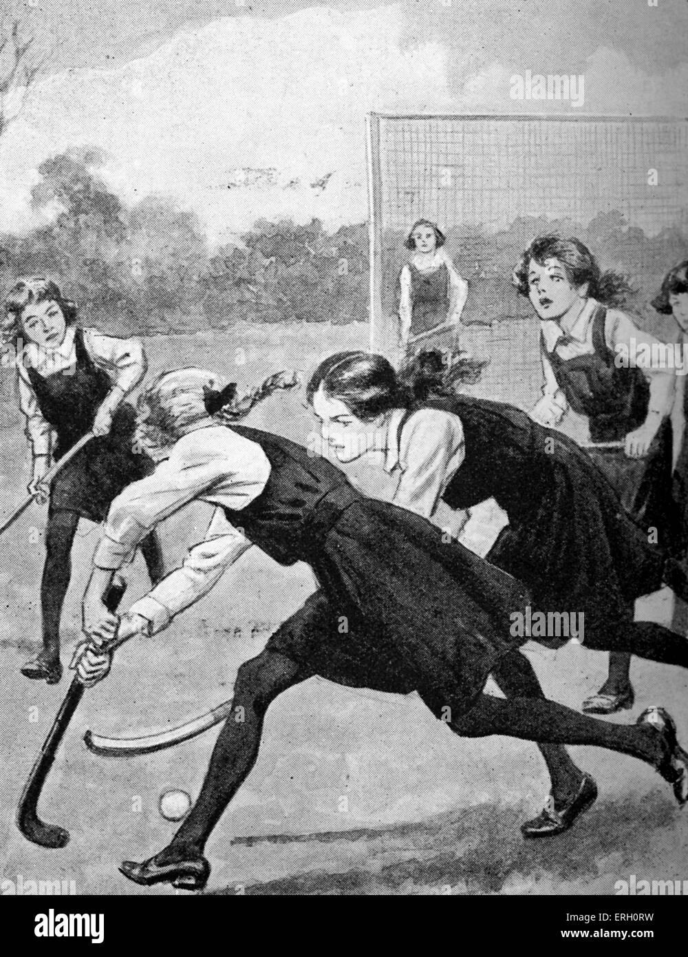 Le match de hockey - de Betsy-go-lucky- de la quatrième, par Jessie Leckie Herbertson, 1923. Photo Stock