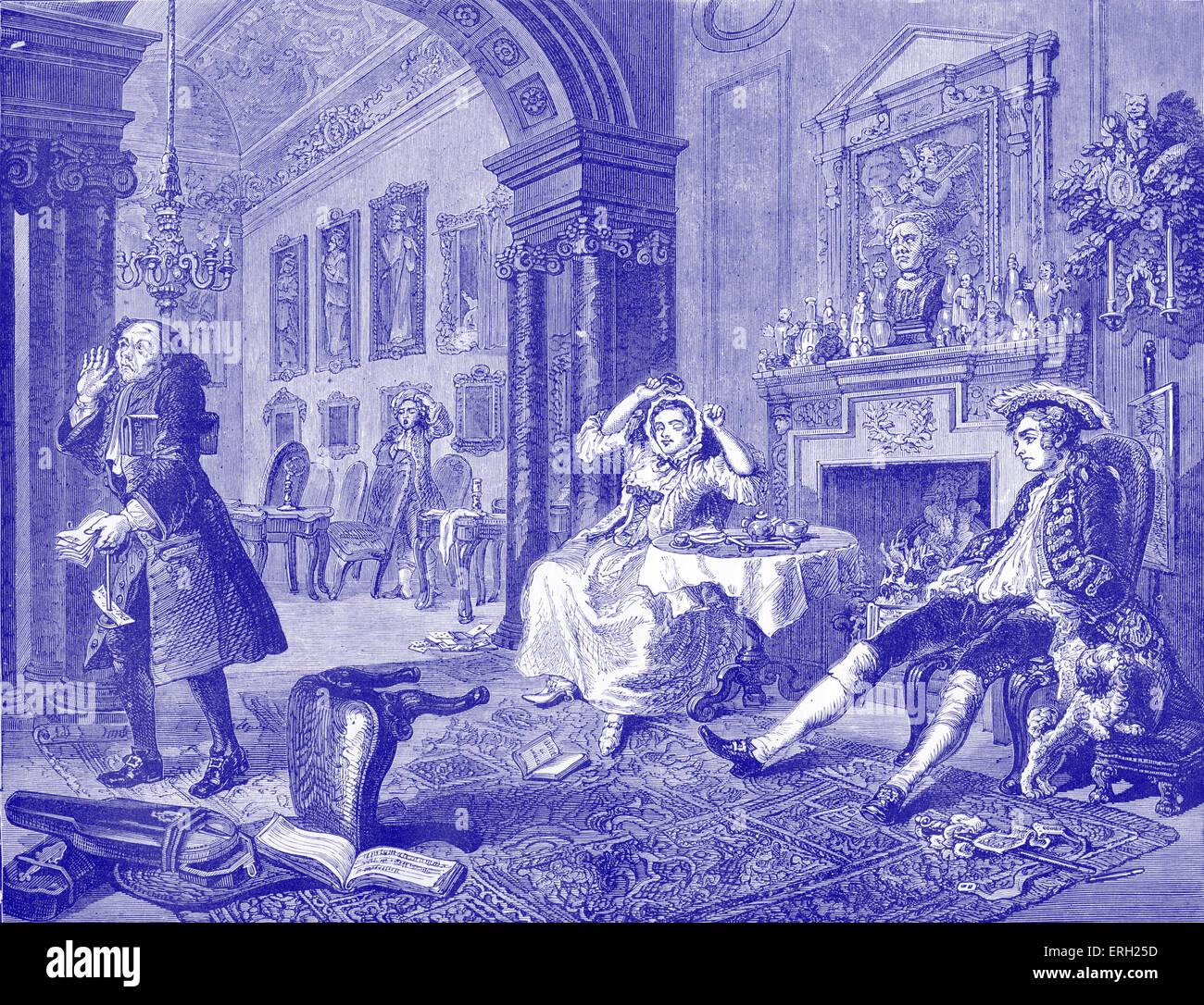Mariage à la mode - le matin après le grand divertissement. Gravure par William Hogarth, peintre français, Photo Stock