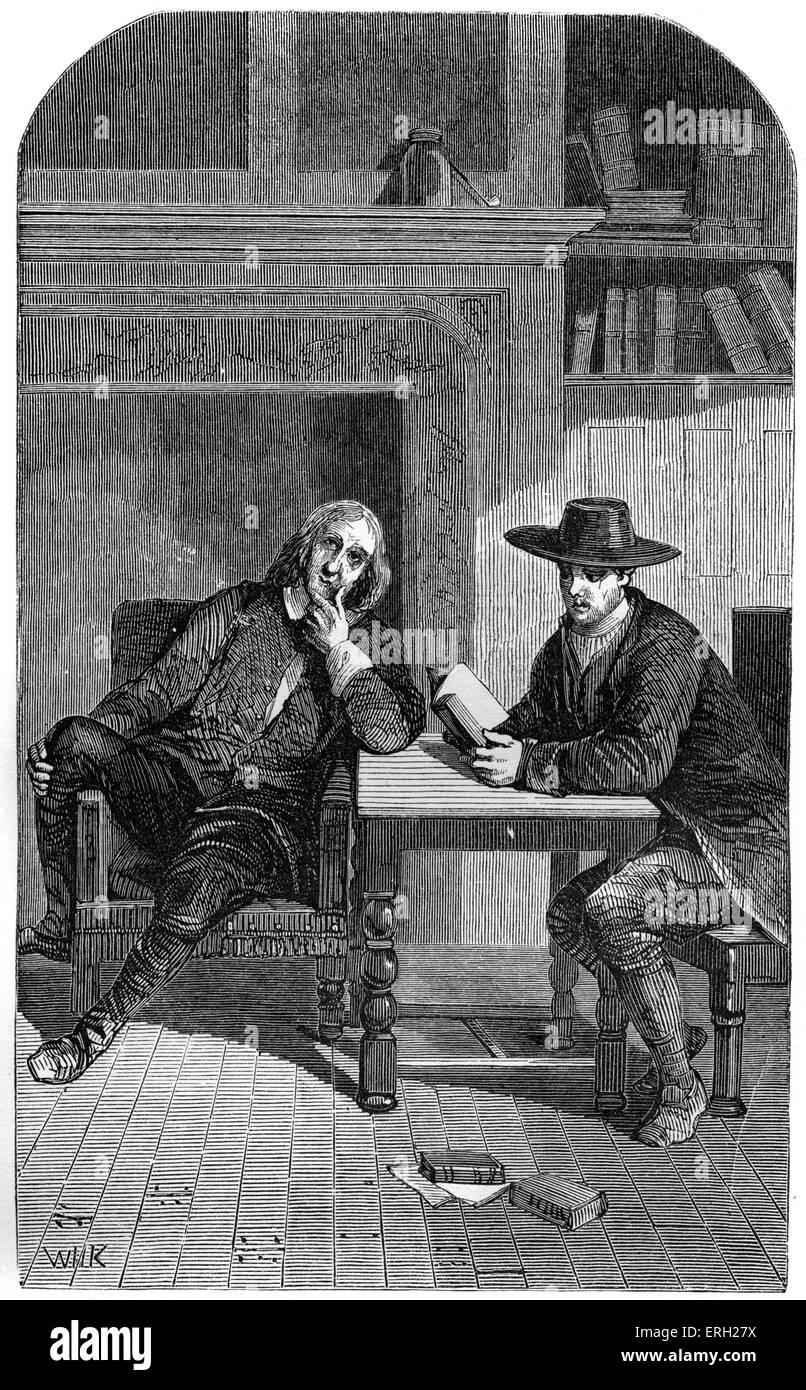 Elwood le Quaker lire le latin à Milton. Thomas Elwood, ami de John Milton, poète anglais, l'auteur Photo Stock