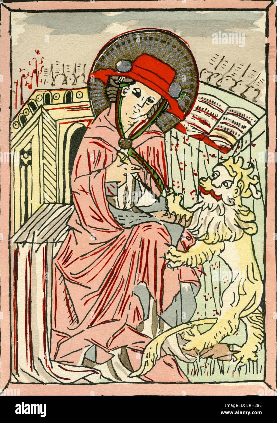 Saint Jérôme dans l'habit d'un cardinal avec son iconographie; un lion et de quoi écrire. Photo Stock