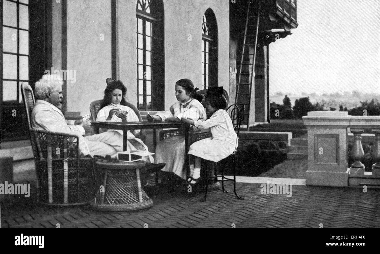 Mark Twain, première semaine à Stormfield dans sa résidence, Redding, Connecticut, USA 1908. Mark Photo Stock