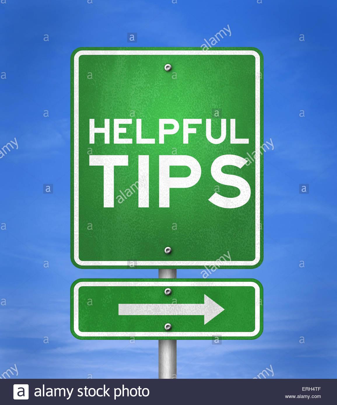 Conseils utiles - panneau routier concept Photo Stock