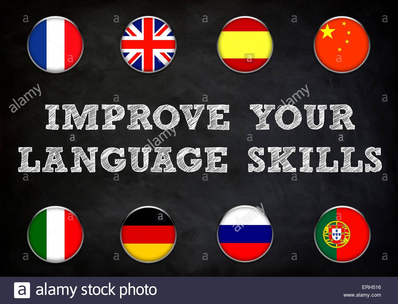Améliorer vos compétences linguistiques - tableau noir illustration Photo Stock