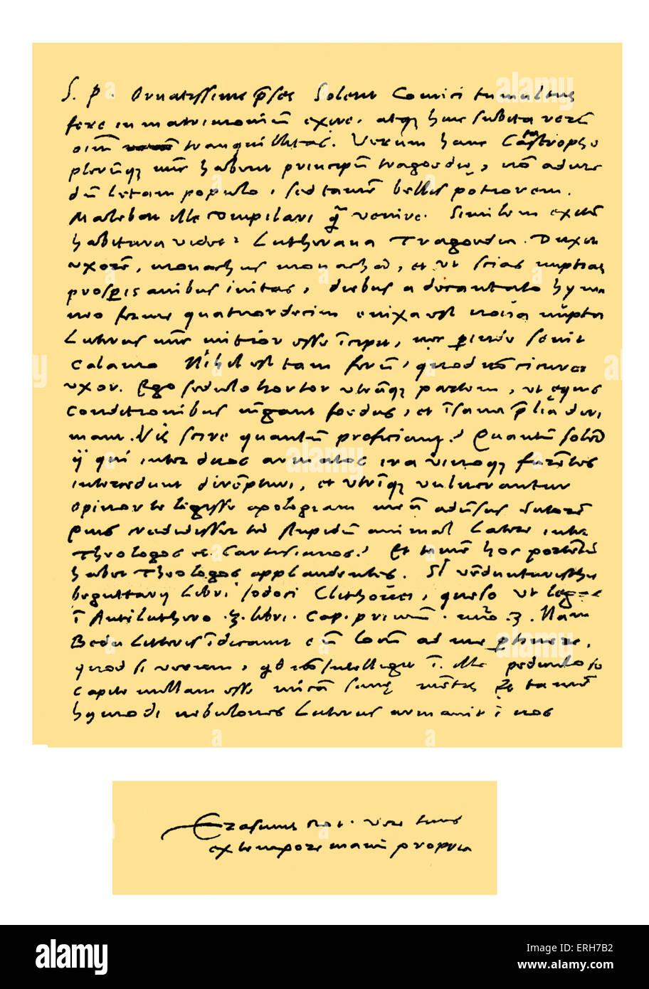 Manuscrit: lettre en Latin de Desiderius Erasmus à Dr Nicholas Everaerts (président de la Hollande), Photo Stock