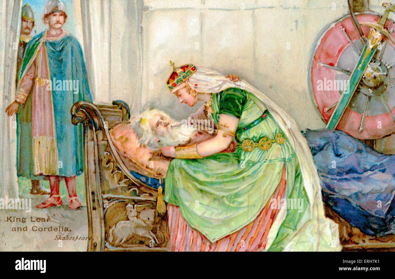 William Shakespeare - Le Roi Lear . Le Roi Lear de mourir avec sa fille Cordelia. Dramaturge et poète élisabéthain Banque D'Images