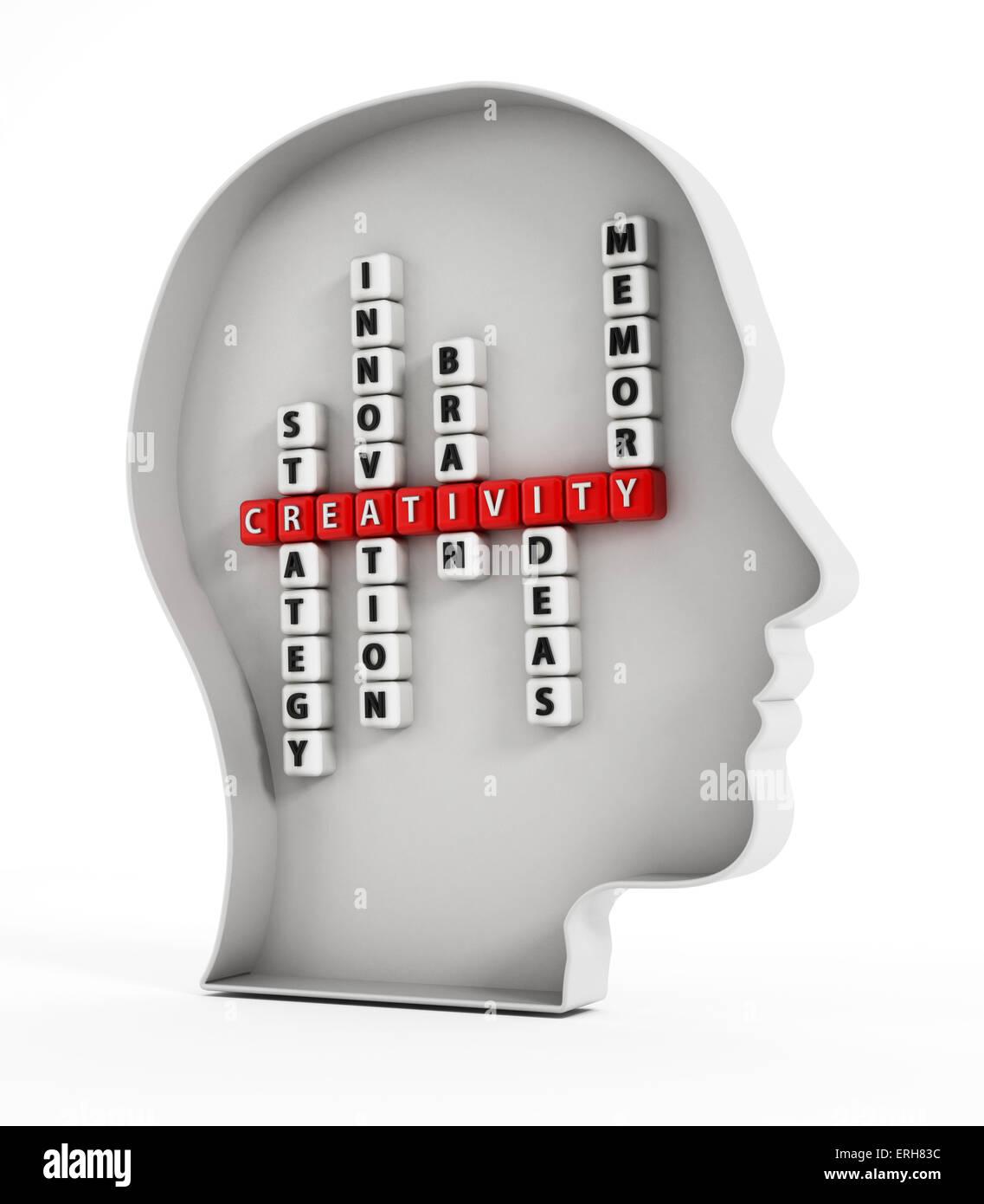 Concept de la créativité, des mots à l'intérieur de la forme de la tête. Photo Stock