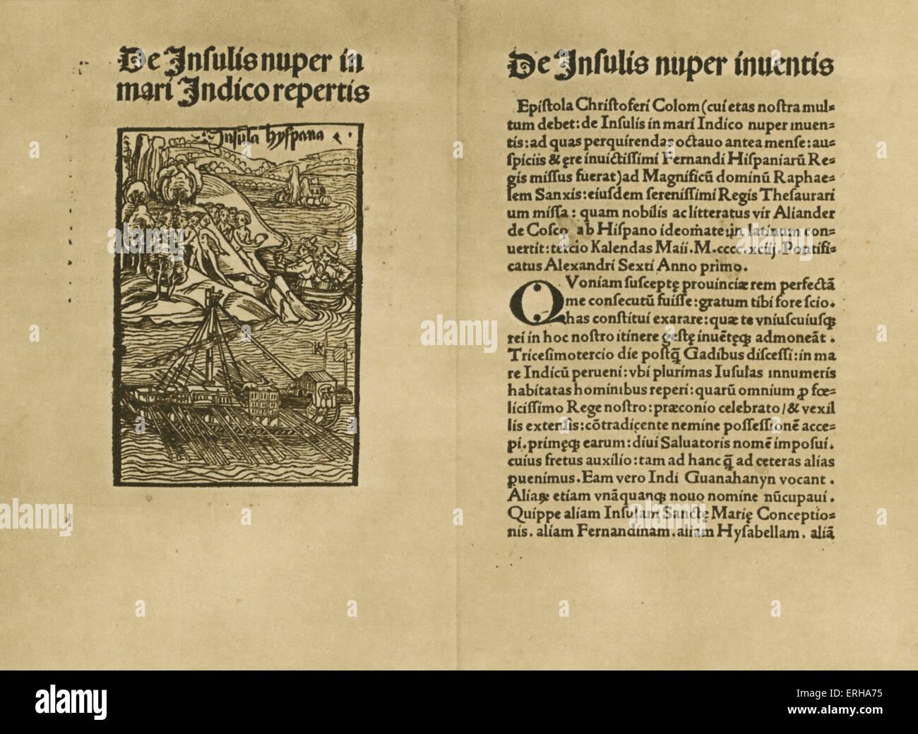 """Page de titre: 'De Insulis Nuper Indico Repertis à Mari"""" (sur la découverte récente Photo Stock"""