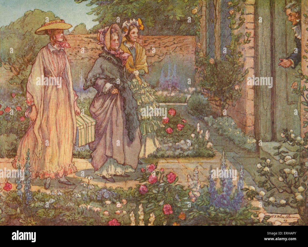 Cranford par Elizabeth Gaskell. Illustrations de M V Timonerie (1895-1933). Sous-titre suivant: c'est Photo Stock