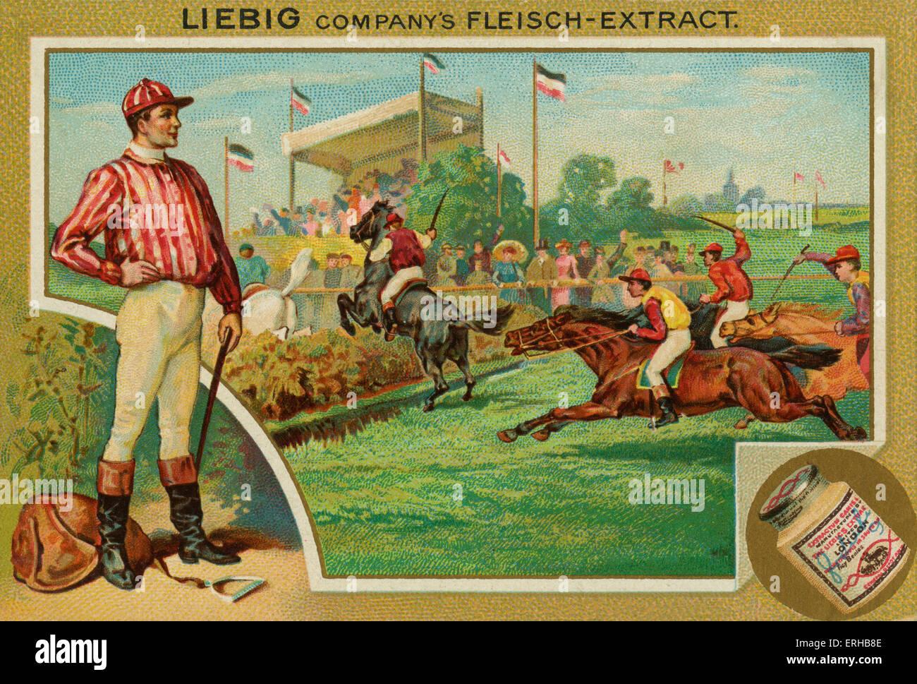 Les courses de chevaux. Carte Liebig, Sports, 1896. Photo Stock