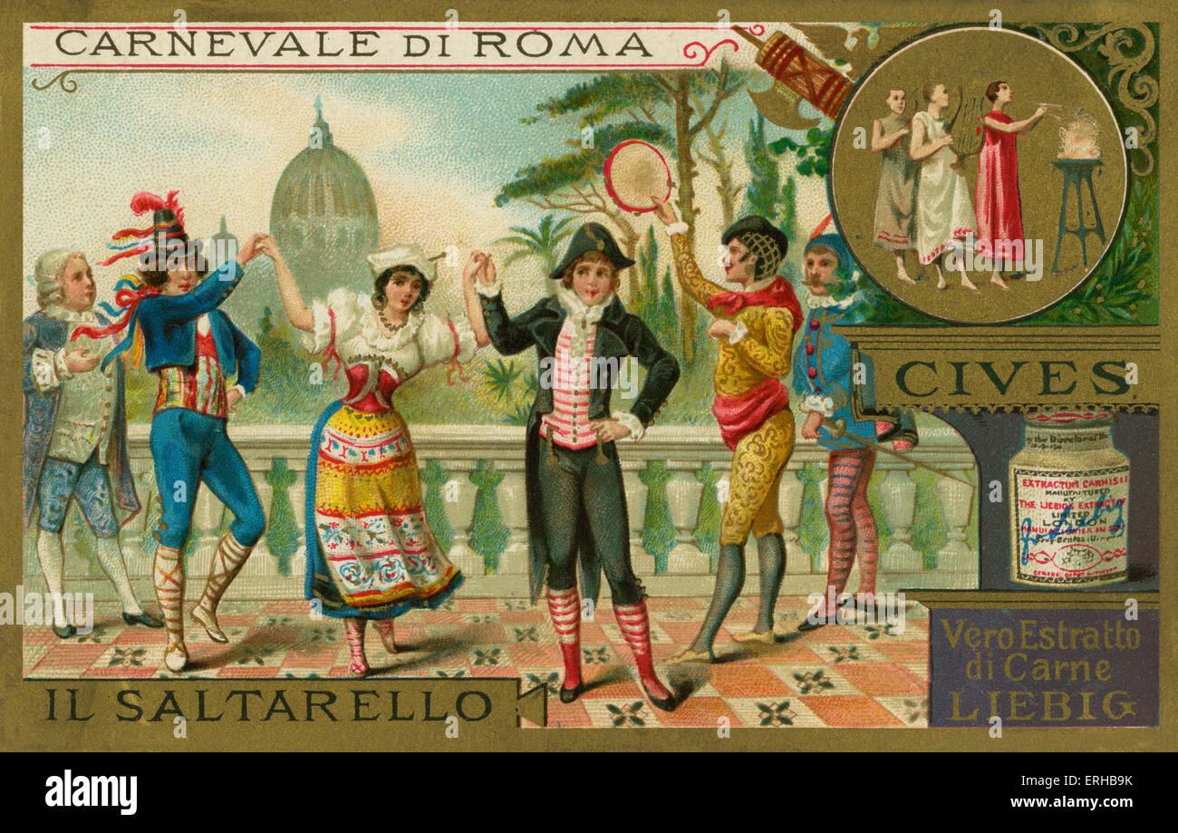 Saltarello -un quartier animé danse folklorique. Carte Liebig, Carnaval à Rome, 1897. Photo Stock