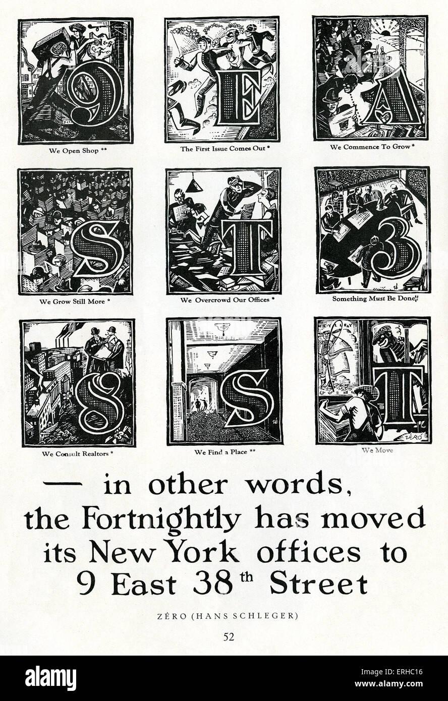 Hans Schleger (parfois utilisées nom ). zéro Annonce pour nouvelle adresse en 1920 dans American: Photo Stock