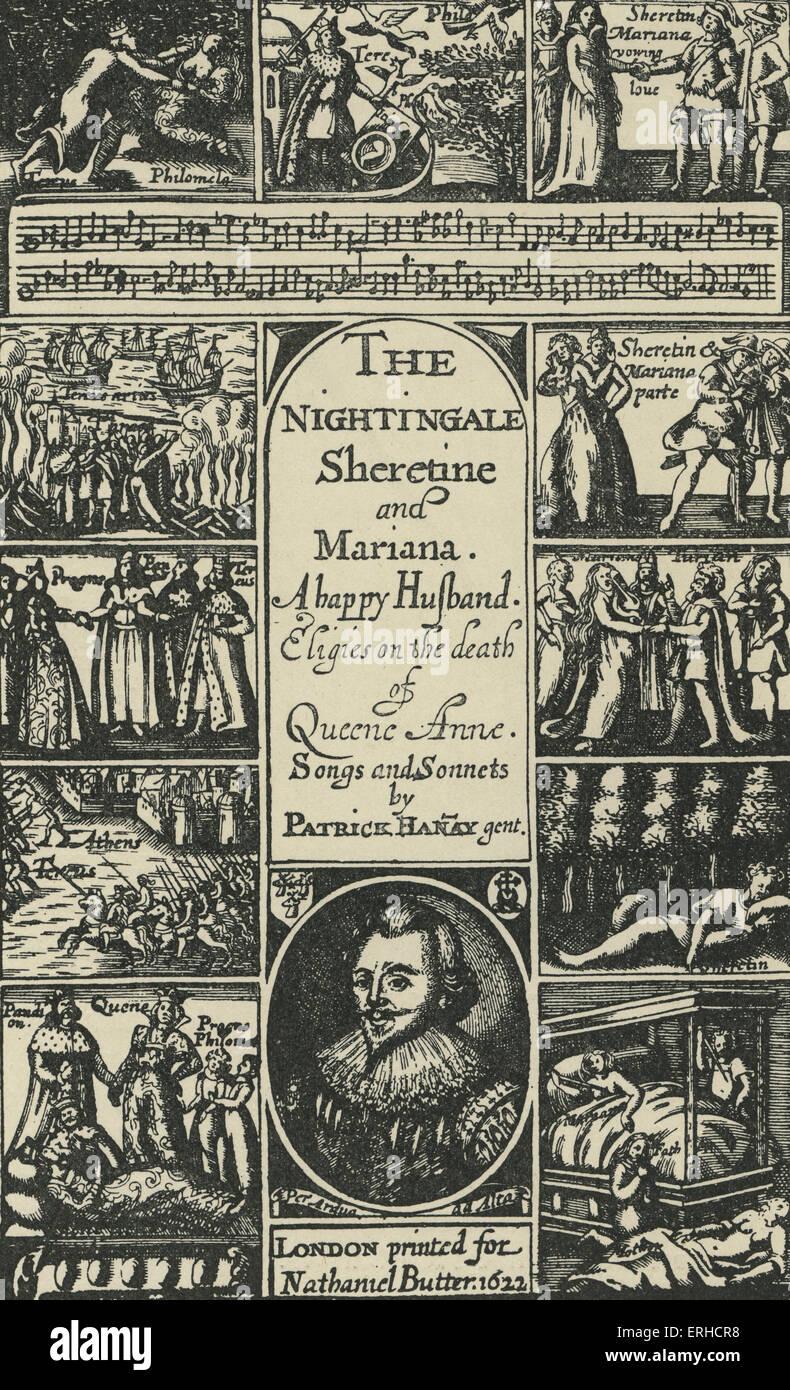 Page de titre pour un livre de poèmes par Patrick Hannay, avec portrait de l'auteur. 17e siècle. Poète et courtisan écossais, est mort Banque D'Images