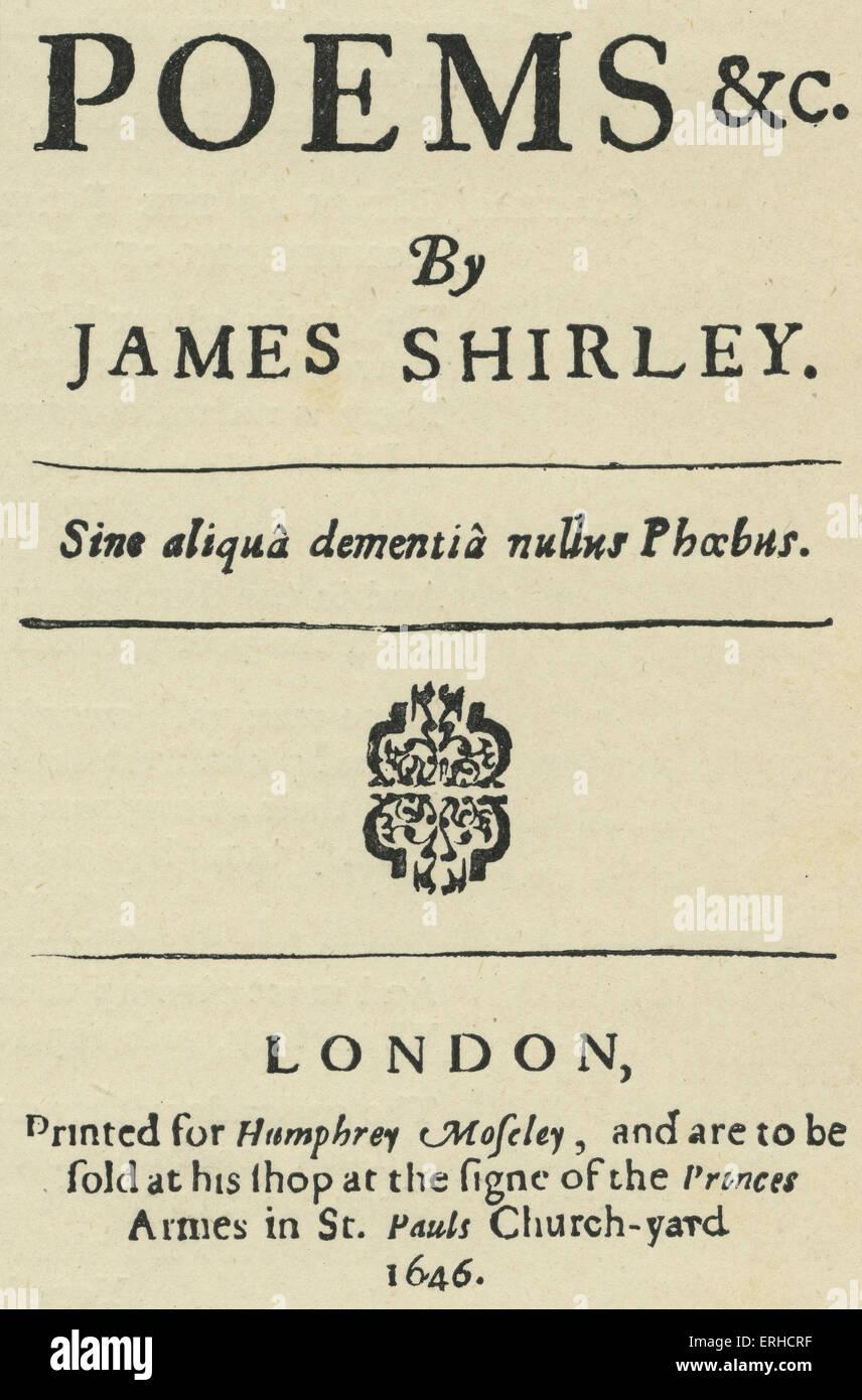 Page de titre pour les 'Poèmes' par James Shirley / Sherley, 1646. Le dramaturge anglais, septembre 1596 - octobre 1666. Banque D'Images