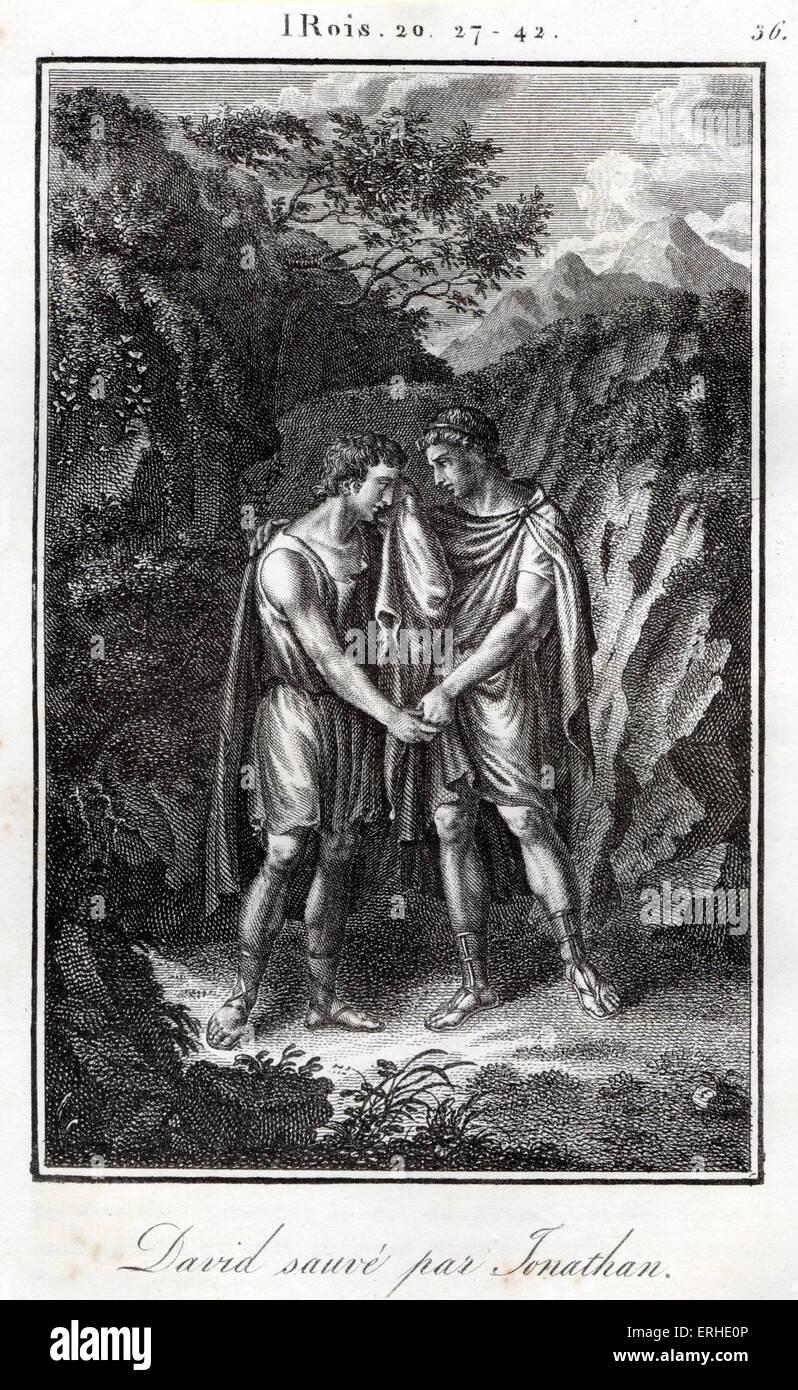 Bible, David et Jonathan united l'amitié menacée par le père de Jonathan, le roi Saül. Les rois. Banque D'Images