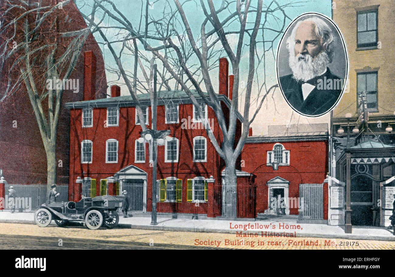 Accueil de Longfellow, Maine Historical Society Building en arrière, Portland, USA. Portrait en médaillon Photo Stock