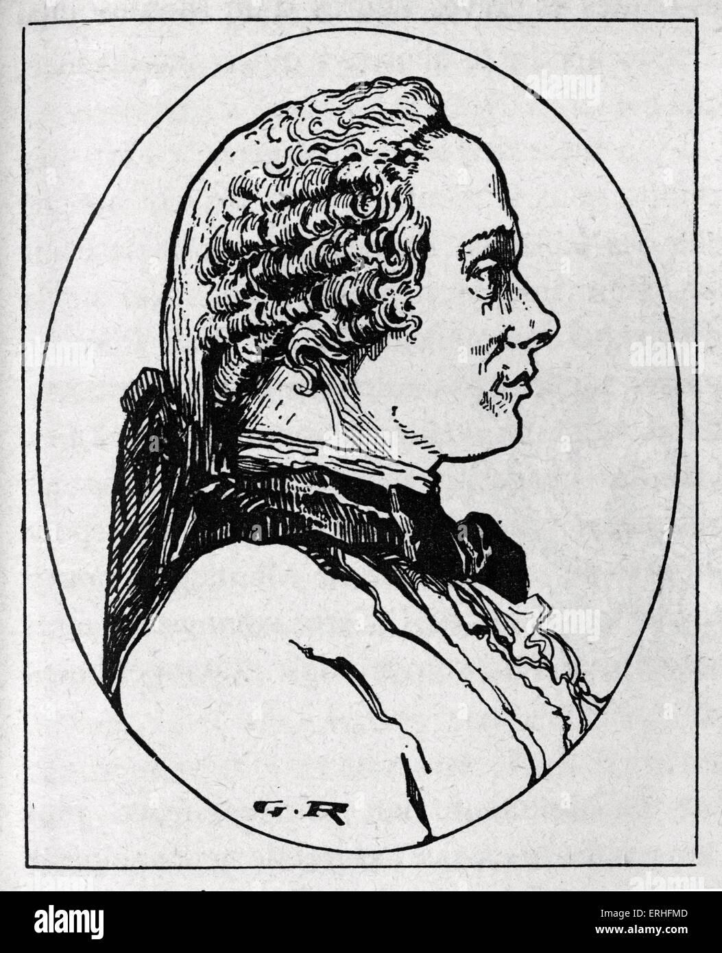 Jean-le-Rond d'Alembert, profil gravé portrait. Le mathématicien, physicien et philosophe, scientifique Photo Stock