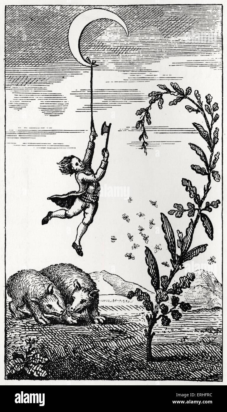 Les aventures surprenantes de Le Baron de Münchhausen - illustration originale sous-titrées: Le Photo Stock