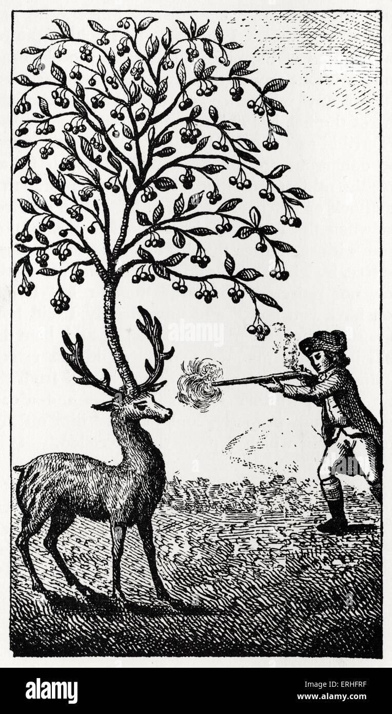 Les aventures surprenantes de Baron de Münchhausen: illustration originale sous-titrées: Le Photo Stock