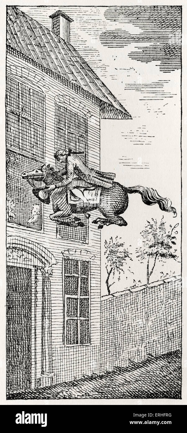 Les aventures surprenantes de Baron de Münchhausen: sous-titres: le Baron est l'équitation. Photo Stock
