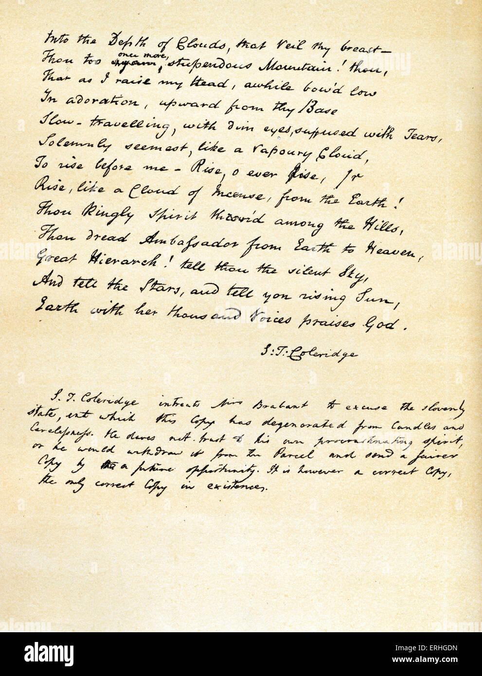 Samuel Taylor Coleridge Dernière Page Manuscrite Poème